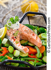 Salmon steak - Tasty fried and grilled salmon steak on mixed...