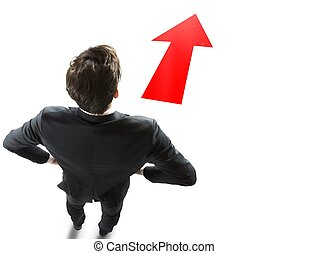 Follow right direction - Businessman with a red arrow to...