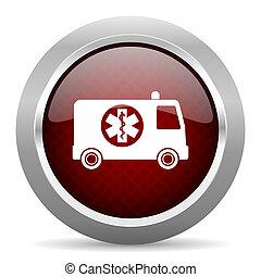 ambulance red glossy web icon