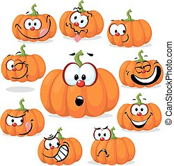 funny pumpkin with many faces - vector illustration