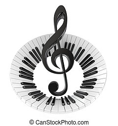 Treble clef in abstract piano