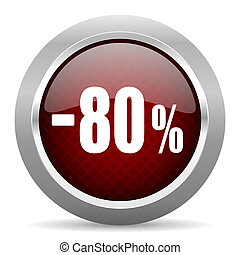 80 percent sale retail red glossy web icon