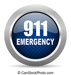 number emergency 911 blue circle glossy web icon on white background, round button for internet and mobile app