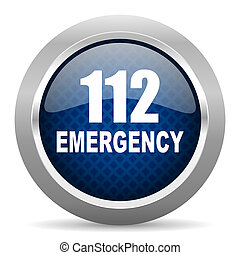 number emergency 112 blue circle glossy web icon on white background, round button for internet and mobile app
