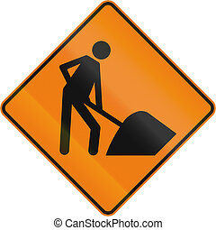 Workers In Road Ahead in Canada - Temporary warning road...