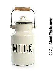 leche, urna, blanco, olla, tradicional, granjero, estilo