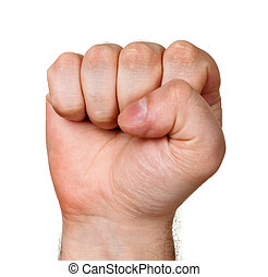 raised fist isolated on white