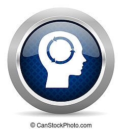 head blue circle glossy web icon on white background, round button for internet and mobile app