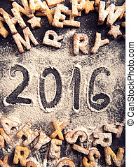 handwritten 2016 on sugra powder with cookies