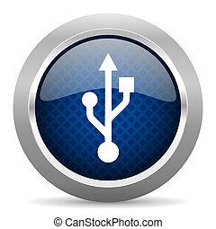 usb blue circle glossy web icon on white background, round...