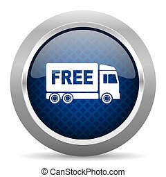 free delivery blue circle glossy web icon on white...