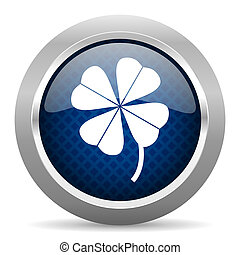 four-leaf clover blue circle glossy web icon on white...