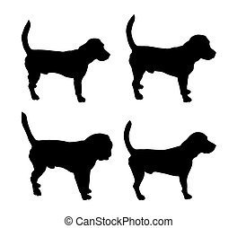 black silhouettes of dogs (Beagle)