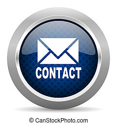 email blue circle glossy web icon on white background, round...