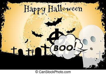 Grungy Halloween Background with Bats and Graveyard