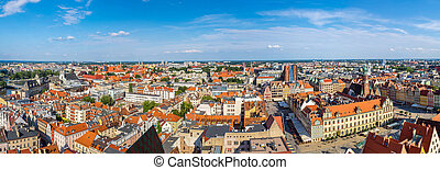 Market Square in Wroclaw - Aerial view of a Market Square in...