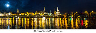 Dresden in night - Panoramic view of Dresden in night and...