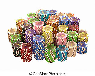 Casino - Colorful chips isolated over white. Concept of...