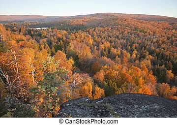 Trees in fall color with hills and lake in northern Minnesota