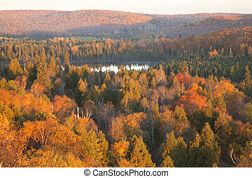 Small lake among hills and trees with fall color in northern Minnesota