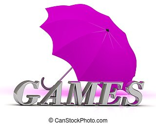 GAMES- inscription of silver letters and umbrella on white...