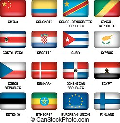 Set of Rectangle World Top States Flags