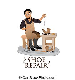 shoemaker men - shoemaker, cobbler, shoe repair, work, flat...