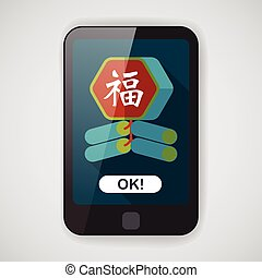 "Chinese New Year flat icon, eps10, word Fu, Chinese festival couplets with firecrackers means "" wish good luck and fortune comes."""