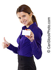 woman holding blank business card giving thumbs up -...