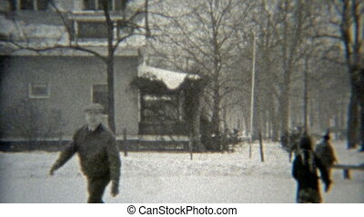1938: Grandpa showing off ice skating - Original vintage 8mm...