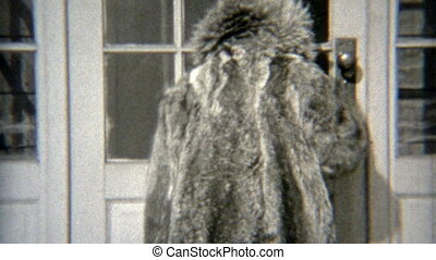 1938: Young girl wearing moms fur - Original vintage 8mm...