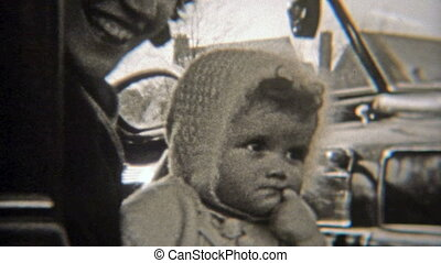 1937: Grumpy baby puts finger in mouth - Original vintage...