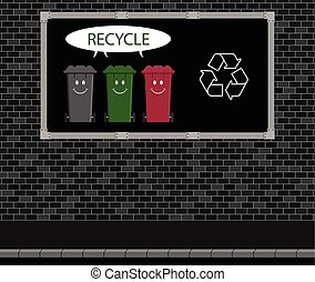 Recycle advertising board - Advertising board on brick wall...