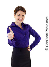 Young businesswoman indicating ok sign