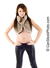 woman in leather pants and fur jacket - beautiful woman in...