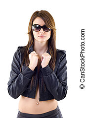 woman wearing leather jacket and pants