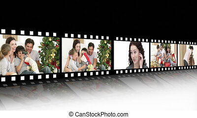 Cheerful family at Christmas time - Montage of cheerful...