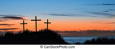 Calvary Beach Hill - Three Crosses on a sand dune with the...