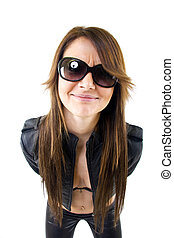 Sexy woman with sunglasses and leather jacket