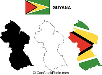 Guyana map vector, Guyana flag vector, isolated Guyana