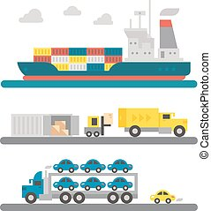 Logistic transportations machineries flat design - Logistic...