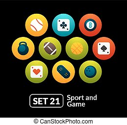 Flat icons set 21 - sport and game collection, for phone...