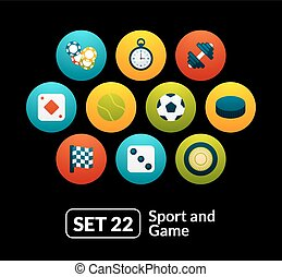 Flat icons set 22 - sport and game collection, for phone...