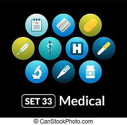 Flat icons vector set 33 - medical collection