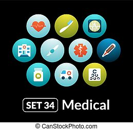 Flat icons vector set 34 - medical collection