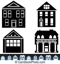 Building Icon Set - Building set isolated on a white...