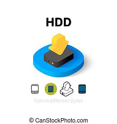 HDD icon in different style - HDD icon, vector symbol in...