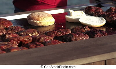 Cooking hamburgers - On wood table prepared hamburgers
