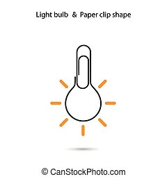 Creative light bulbl logo design,Paper clip sign.Concept of ideas inspiration, innovation, invention, effective thinking, knowledge.