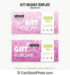 Gift voucher background or certificate coupon template with...